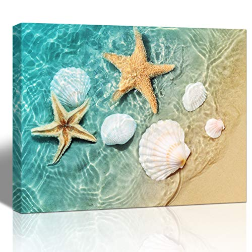 Purple Verbene Art Sea Shell Starfish Pictures Home Wall Art Decor Ocean Beach Seascape Canvas Print Painting Modern Artwork for Living Room Bedroom Bathroom Wall Decoration,Framed Picture 10x14 Inch