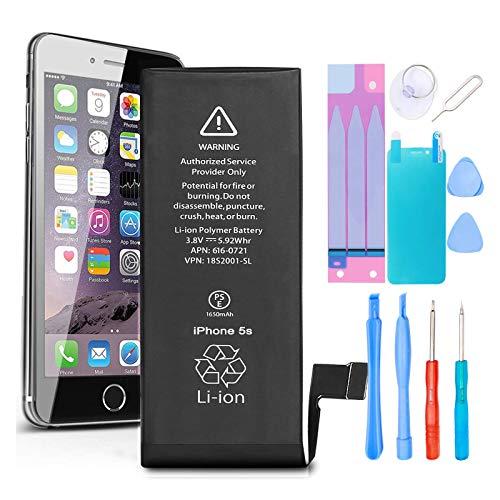 GLOBAL GOLDEN Batería para iPhone 5S iPhone 5C 1650mAh de Alta Capacidad Batería y con Kits de Herramientas de reparación, Cinta Adhesiva, Protector de Pantalla