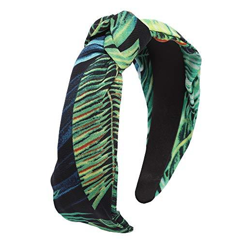 HAIMEIKANG Vintage Bladeren Patroon Knoop Hoofdbanden, Stretchy Haarbanden voor Vrouwen Meisje met Twist Knoop Kruis - Mix kleur Eén maat Color-6