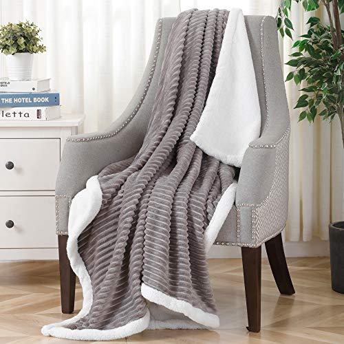 SOCHOW Sherpa Fleece Throw Blanket, Super Soft Fluffy Warm Stripe Plush Blanket for Sofa Couch Bed 50 x 60 Inches, Grey