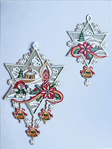 SeGaTeX home fashion Set 2 Fensterbilder Schmucksterne Winter-Weihnachts-Deko Gestickt aus Echter Plauener Spitze 5042245