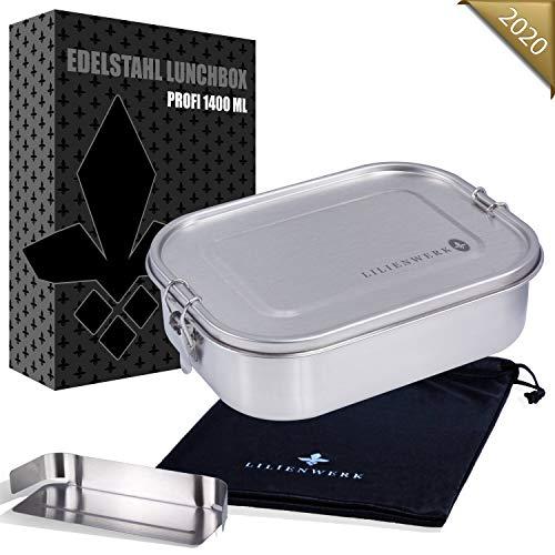 Lilienwerk® - NEU - Edelstahl Brotdose mit GRATIS Trennwand & Beutel - Dichte Premium Lunchbox für Kinder & Erwachsene - Stilvolles Metall Brotbox Set - Nachhaltig, BPA- und Plastik-Frei - 1400 ml