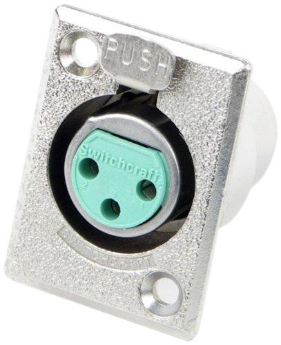 Switchcraft D3F 3-Pin Female XLR Panel Mount Plug, Nickel Finish
