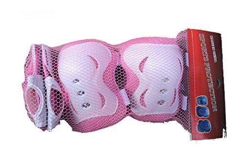 Eruner Kinder Roller Blading Skateboard Knieschützer Ellenbogenschoner Kniestütze Handgelenk Handflächenschutz mit Hartschale Dicke Polsterung Sport-Set für 3–9 Jahre alt, 6 Stück, pink / weiß, Einheitsgröße