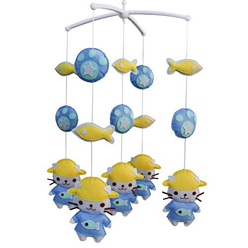 Berceau de lit de bébé rotatif coloré jouets de bébé [Chat bleu]