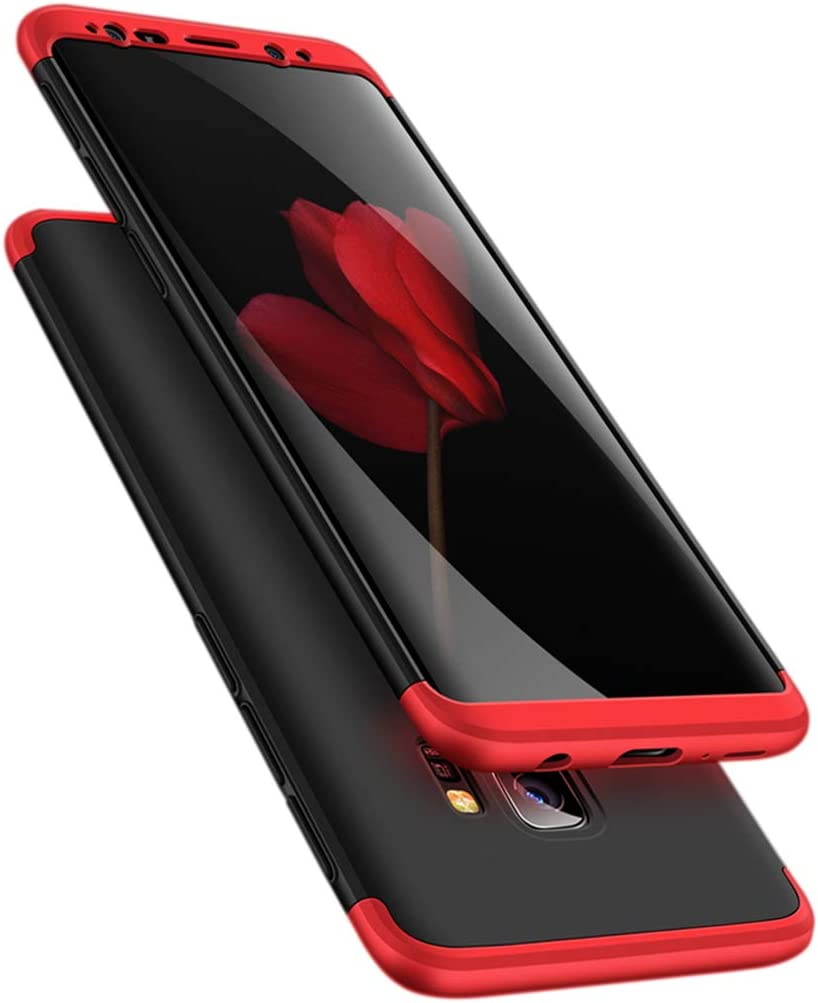Feimeng Case for Galaxy S9 Plus, 3-in-1 Ultra-Thin Slim Hard PC Case Cover Anti-Scratches 360 Degree Full Body Protective Cover Compatible with Samsung Galaxy S9 Plus(2018) (Red+Black+red)