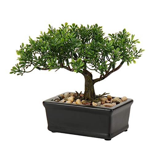 Bonsai Tree, Fake Plants Ceramic Potted Tree Artificial Japanese Cedar Bonsai Tree Decoration for Home Desk Office Bathroom Kitchen Farmhouse Indoor/Outdoor (Bonsai Tree #02)