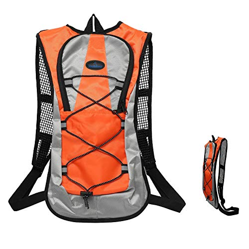 Bike Backpack 5L Water Resistant with Night Reflective Tape,Small Cycling Rucksack Breathable Lightweight for Women Men Ladies Junior,Mini Running Backpack for Bicycle,Riding,Marathon,Hiking(Orange)