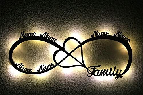 LED Deko Schlummerlicht Nachtlicht Familie Unendlichkeit Herz Liebe, personalisiert mit Wunsch Namen Lasergravur Abendlicht Kinderzimmer Wohnzimmer Geschenk