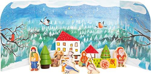 Small Foot 11675 Adventskalender Winterwald in 3D Kulisse, aus Stabiler Pappe mit Vollholzfiguren, ab 2 Jahren Toys, Mehrfarbig