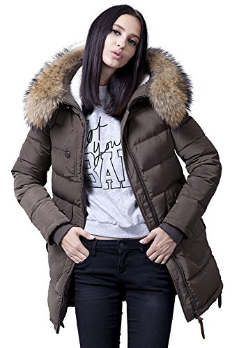 BININBOX® Damski płaszcz zimowy, kurtka puchowa, pikowana, z kapturem, kurtka puchowa, długa, w czterech kolorach
