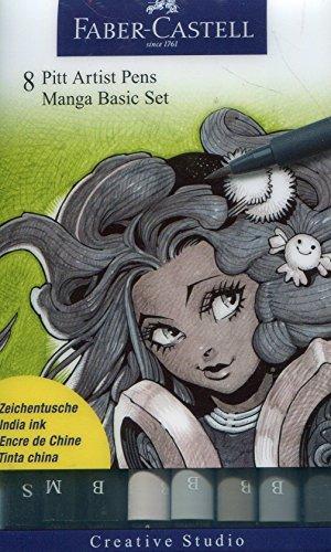 Faber Castell 167107 - Tuschestift PITT Artist Pen Brush -Manga- 8er Packung