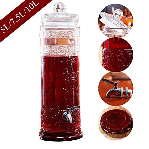 Hyxqyjp drankdispenser met spies is stabiel, en het glazen deksel, 5/7,5/10 l drankdispenser/bier/slag/ijs/koude drank.