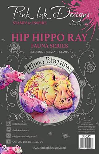 Pink Ink Designs Hip Hippo Clear Stamp Set Juego de Sellos para hipopótamo y Rayas, A5