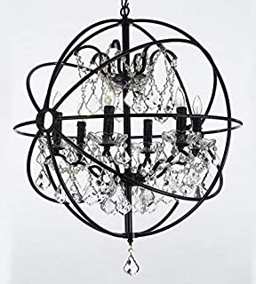Foucault's Orb Wrought Iron Crystal Chandelier Lighting Country French , 6 Lights , , ht25 X wd24 Ceiling Fixture Sphere
