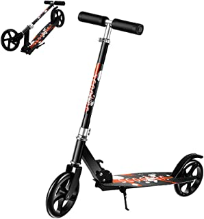 Kick Scooter Foldable Scooter with 2 Large Wheel Quick-Release Folding System Shock Absorption Mechanism for Adults Teens