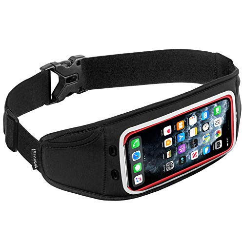 Sporteer Zephyr Slim Running Belt - Compatible with iPhone 12 Pro Max, 11 Pro Max, 12, 11, 11 Pro, Xs Max, Galaxy S21+, S20+, S21, S20, S10+, S10, Note 10+, Note 10, Pixel, and MANY More Phones & Cases