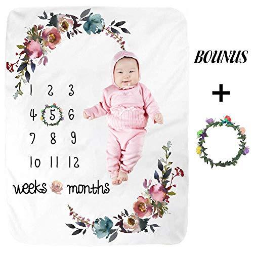 Starter Couverture Mensuelle Mensuelle pour Bébé, Flanelle Couverture Matérielle pour Bébé Repère De Mois De Croissance Record Record Wrap Serviette Bébé Fond De Photographie, 100x130cm