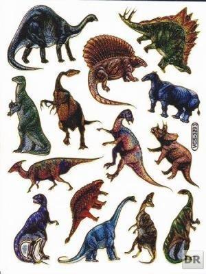Dinosaures Animaux Decal autocollant de décalque 1 Metallic Glitter Dimensions de la feuille: 13,5 cm x 10 cm
