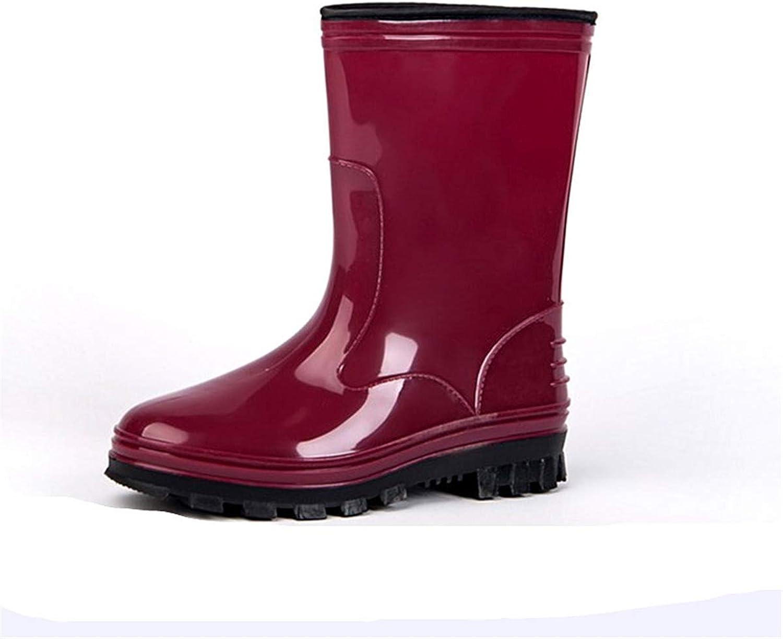 Women's Waterproof Plus Velvet Warm Rain Boots Solid color Non-Slip Outdoor Work Garden Snow Boots