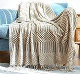 Hayisugal Tagesdecke Wohndecke Boho Decke weich Gestrickte Decke Wendedecke Kuscheldeck Sofadecke Couchdecke überwurf Decke, Khaki, 130 x 200cm