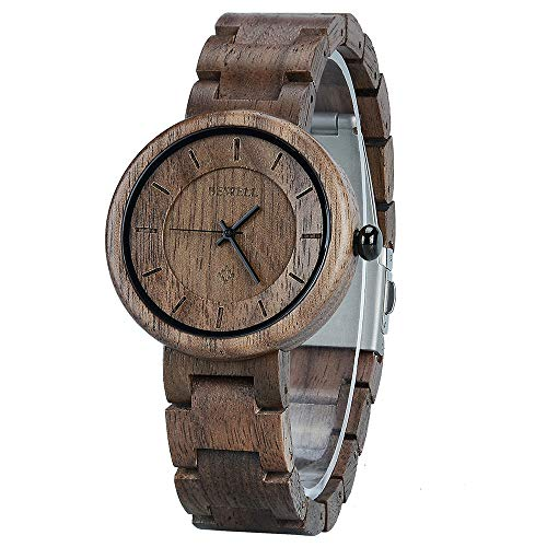 BEWELL Damen Armbanduhr Analog Japanisches Quarzwerk mit Holzarmband Rund Elegant Holzarmbanduhren für Damen (Schwarz)