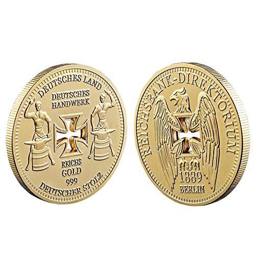 Lankater 1pc Alemán Imperial Banco Baño De Oro Monedas Conmemorativas, Alemania Hueco Cruz De Coin Coleccionables (de Oro)