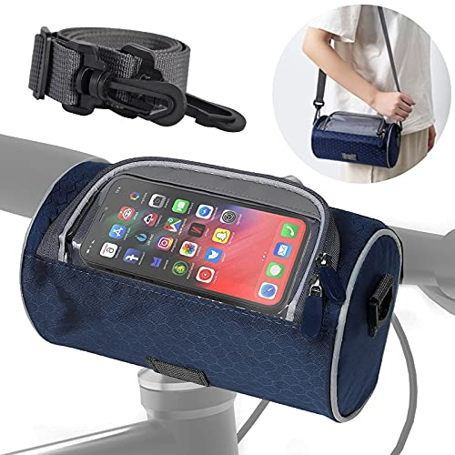 Fahrrad Lenkertasche, Umhängetasche, gepäcktaschen Fahrradtasche Vorne mit Tragegurt Touchscreen, Fahrradkorb Klein Wasserdicht Geeignet für Ebike MTB BMX Mountainbike Cityräder