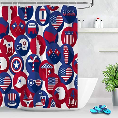 dsgrdhrty Día de la Independencia Barras y Estrellas Tema Cortina de baño Ducha Estilo Decorativo Impermeable 180x180