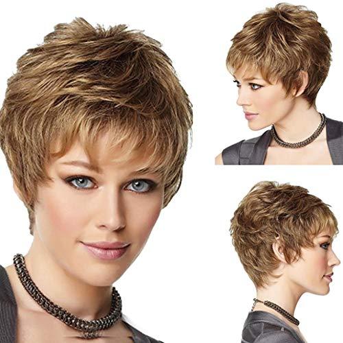 Perruque courte bouclée dorée pour femme - Aspect naturel - Accessoire de fête - Doré