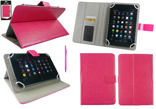 emartbuy Hot Rosa 2 in 1 Eingabestift +Universalbereich Hot Rosa Multi Winkel Folio Cover Wallet Hülle Schutzhülle mit Kartensteckplätze Geeignet für Odys Junior Tab 8 Pro 8