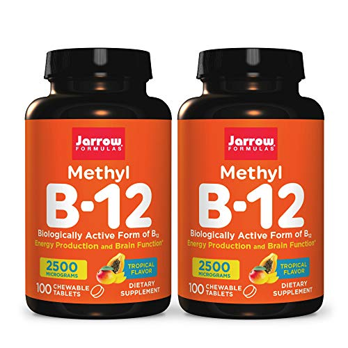 Jarrow Formulas Methyl B-12 2500 mcg - 100 Chewable Tablets, Tropical - Pack of 2 - Bioactive Vitamin B12 - Supports Energy Production, Brain Health & Metabolism - Gluten Free - 200 Total Servings