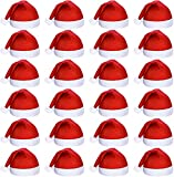 24 Set Non-Woven Cloth Santa Hat Christmas Caps for for Adults and Children Christmas Red