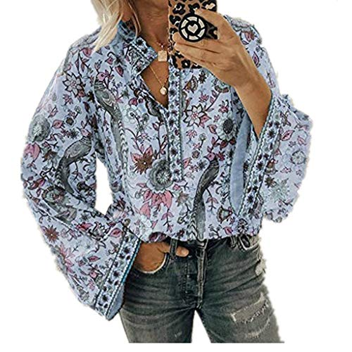 Women's Vintage Floral Bell Sleeve V Neck Blouse Button up Casual Popover Shirt Loose Fit Tunic Tops 2019 Ladies Spring Fall Casual T-Shirt