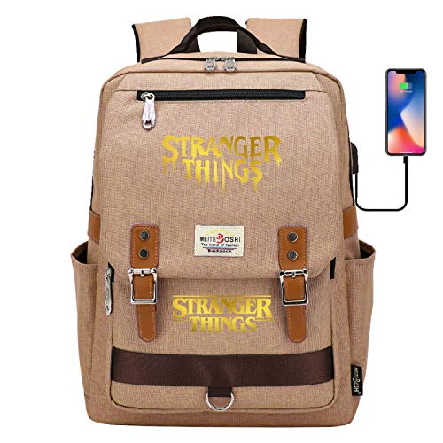 Laptop Backpack USB Charging Port Rechargeable Outdoor boy Camping Backpack Large Yellow