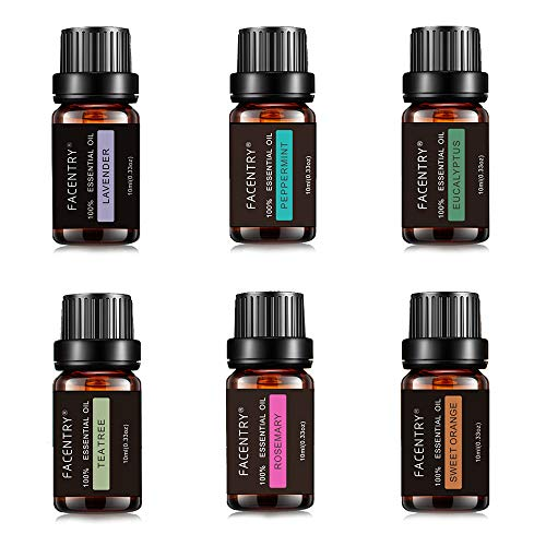 Anself Essential Oil Set (6Pcs 10ML) Aromatherapy Oils Gift Set Essential Oils Gift Set for Diffuser Humidifier Fragrance Oil for Aroma Diffuser Flower Fruit Essential Oil Aromatherapy Air Freshening