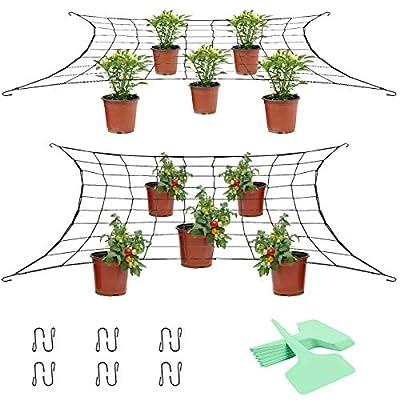 deaunbr Flexible Net Trellis for Grow Tents 2 Packs, 3x3 ft Flexible Elastic Plant Trellis Garden Netting for 4x4 5x5 ft & More Size Grow Tents, Fruits, Flowers, with 12 Steel Hooks, 20 Plant Labels