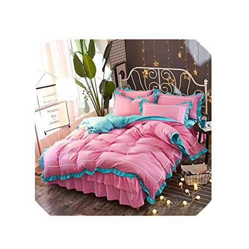 TT Lemon Pink Lace Princess Wedding Bedding Sets Home Textile Queen King Size Fashion Duvet Cover Set Bed Skirt Pillowcases,Style14,200X220Cm Bed,Bed Skirt