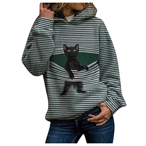 Sudadera con capucha con estampado 3D de gato para mujer, sudadera de algodón de manga larga deportiva, casual, blusa 2021 verde L