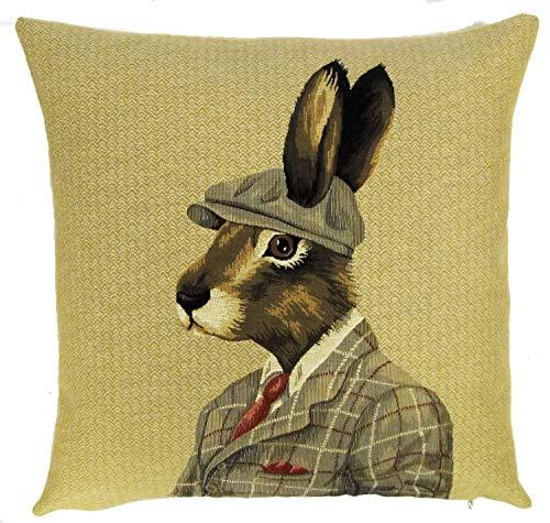 565pir Gobelin Tapisserie-Kissenbezug, gekleideter Kaninchen Hase mit Motorhaube auf Fischgräten-Hintergrund, hergestellt in Belgien PC5622