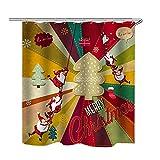 QWV Hochwertiger Duschvorhang Polyester Durable Schlaf Duschvorhang Weihnachtsmann-Muster-Haushalt Duschvorhang (Color : Red, Size : A)