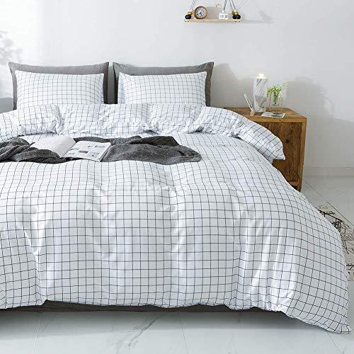 Lanqinglv Weiß Schwarz Bettwäsche 135x200cm 2teilig Reißverschluss Kariert Muster Bettwäsche Renforce Bettbezug mit Kissenbezüge 80x80cm (4562,135x200)