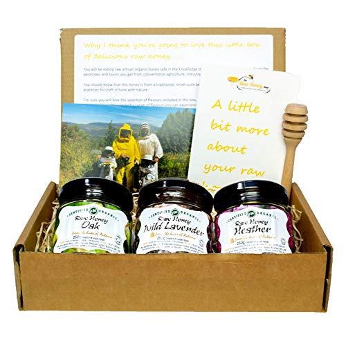 Biosphere Mountain Organic Honey Gift Set 3x250g Jars/Raw Antibacterial Cold Pressed