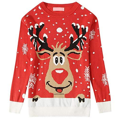Dames Gebreide Vrolijke Kerstmis Lange Mouwen, Grappige Kerstman Reindeer Pullover Lelijke Kerst Trui - Xmas Tree Dames Pom Jumper S