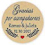 MameArt 50 PCS Pegatinas Personalizadas Boda Gracias por acompañarnos, 4cm Etiquetas Perfecto para Invitaciones Matrimonio Boda Fiesta (Kraft)