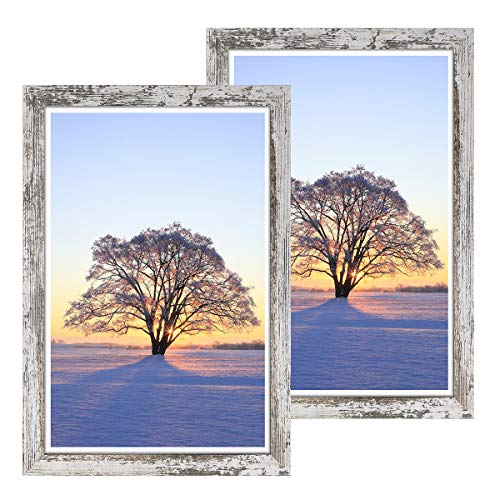 Q.Hou 13x19 Picture Frames Wood Patten Distressed White 2 Packs, Wall Hanging, Smooth Molding & Acrylic Cover, Great for Prints, Poster, Mural and Picture (QH-PF13X19-RW)