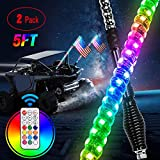 Nilight 2PCS 5FT Spiral RGB Led Whip Light with Spring Base Chasing Light RF Remote Control Lighted Antenna Whips for Can-Am ATV UTV RZR Polaris Dune Buggy Offroad Truck