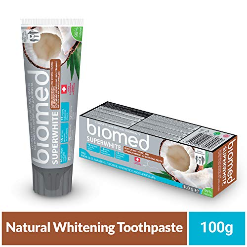 BIOMED,BIOBIOIXH, Biomed Super White Fluoridfreie Coconut Oil Toothpaste, 99% Natural Ingredients, 100g,