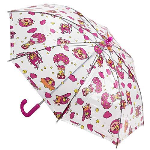 Derby Kids Sky Kinder Stockschirm transparenter Kinderschirm durchsichtiger Regenschirm 72654, Farbe:Pink