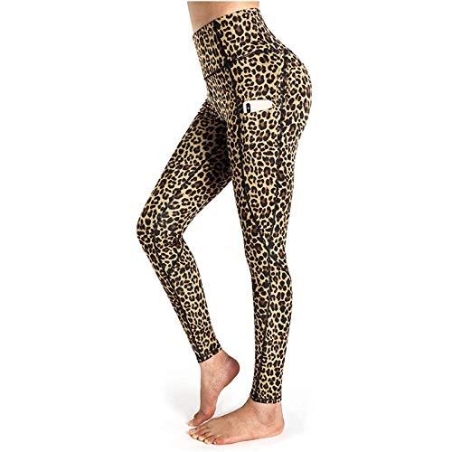 Damen Yoga Hosen mit Taschen Leopardenmuster Leggings High Waist Sporthose Workout Laufhosen, Brown, L